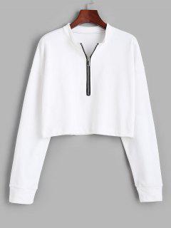 Crop Kapuze Sweatshirt Mit Halb Reißverschluss - Weiß M