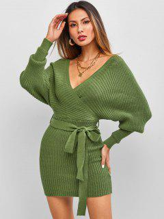 ZAFUL Belt Batwing Sleeve Surplice Sweater Dress - Deep Green S