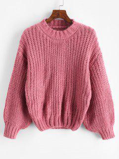 Glitter Mock Neck Chunky Sweater - Light Pink