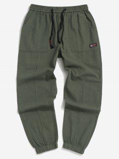 Pantalon Applique à Pieds Etroits Taille Élastique - Vert Forêt Moyen Xs