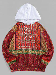 ZAFUL Tribal Pattern Colorblock Hoodie - Red L