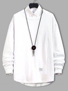 Asymmetric Hem Plain Drop Shoulder Sweatshirt - White 4xl