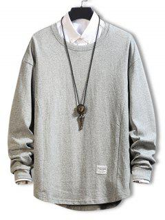 Asymmetric Hem Plain Drop Shoulder Sweatshirt - Gray 3xl