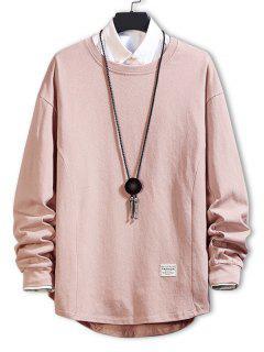 Asymmetric Hem Plain Drop Shoulder Sweatshirt - Pink 4xl