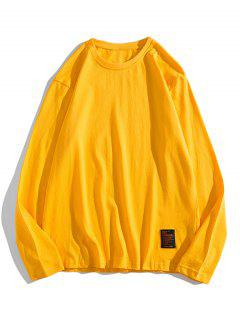 Solid Long Sleeve Applique T Shirt - Yellow Xs