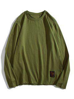 Solid Long Sleeve Applique T Shirt - Army Green Xs