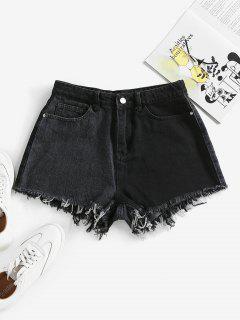 ZAFUL Shorts De Denim De Dos Colores Deshilado - Negro S