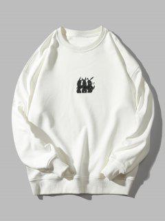 Animal Letter Print Crew Neck Sweatshirt - White M