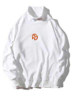 Sweat-shirt Lettre Brodée Goutte Epaule à Col Montant - Blanc Xl