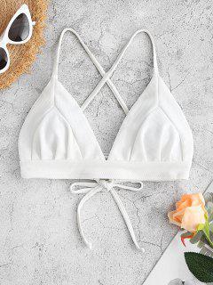 ZAFUL Textured Crisscross Lace-up Bikini Swimsuit - White M