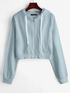 ZAFUL Drawstring Zip Up Cropped Hoodie - Light Blue S