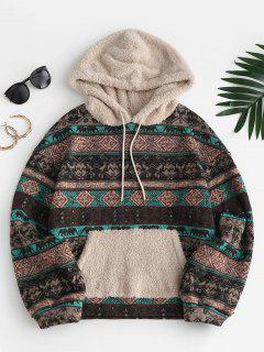 ZAFUL Tribal Print Faux Blana Fleece Hoodie - Maro Deschis M
