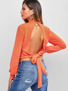 Ribbed Keyhole Cut Out Tie Back Knitwear - Dark Orange L