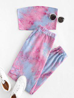 Sweat Tie Dye Two Piece Jogger Pants Set - Light Blue L