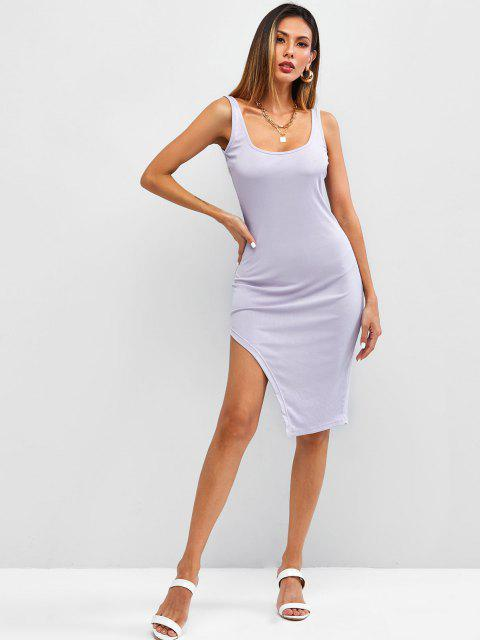 outfits Ribbed Uneven Hem Bodycon Tank Dress - LIGHT PURPLE XL Mobile