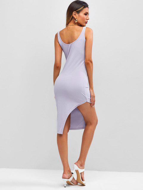 shop Ribbed Uneven Hem Bodycon Tank Dress - LIGHT PURPLE M Mobile