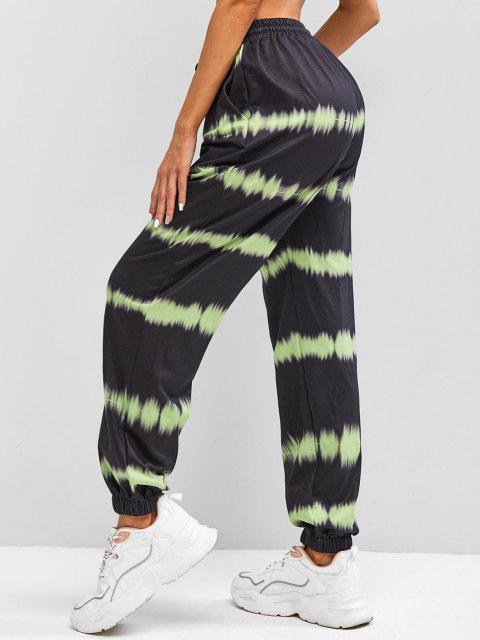 hot ZAFUL High Waisted Tie Dye Jogger Pants - BLACK S Mobile