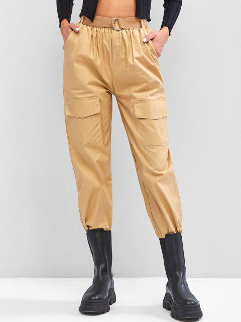 shops Boyish Pockets Buckle Belted Toggle Drawstring Cargo Pants - LIGHT COFFEE L Mobile