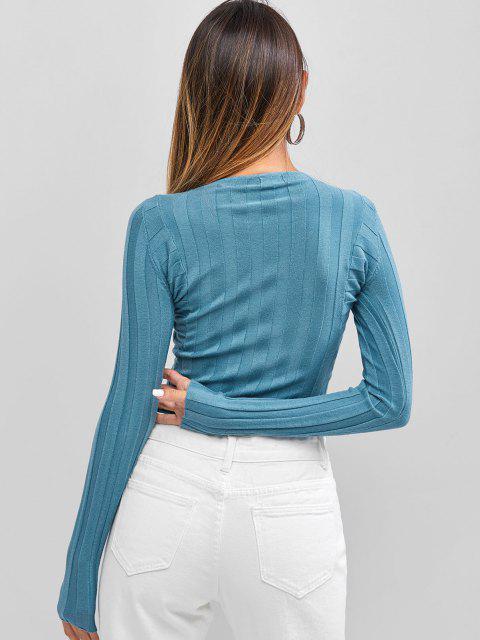 Camisola suéter gola V com nervuras - Azul Um Tamanho Mobile