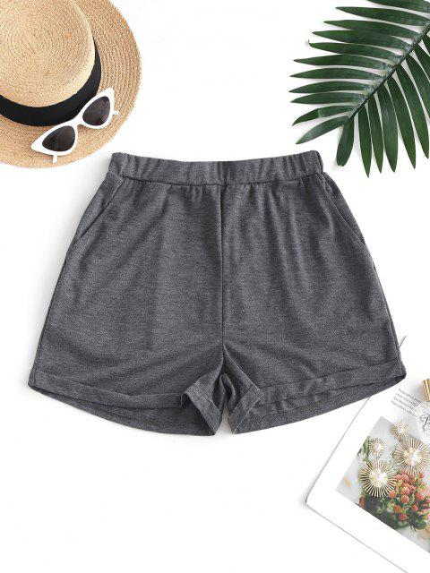 womens ZAFUL Pull On Pocket Cuffed Shorts - DARK GRAY M Mobile