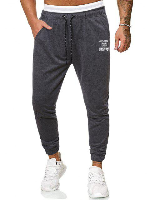 outfit Lounge Cat Graphic Pencil Jogger Pants - DARK GRAY 2XL Mobile