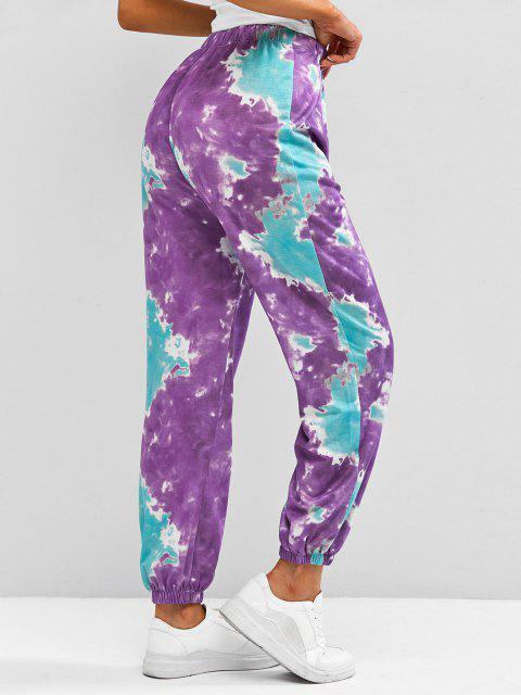 lady Tie Dye Oriental Hanzi Pull-on Jogger Pants - PURPLE M Mobile