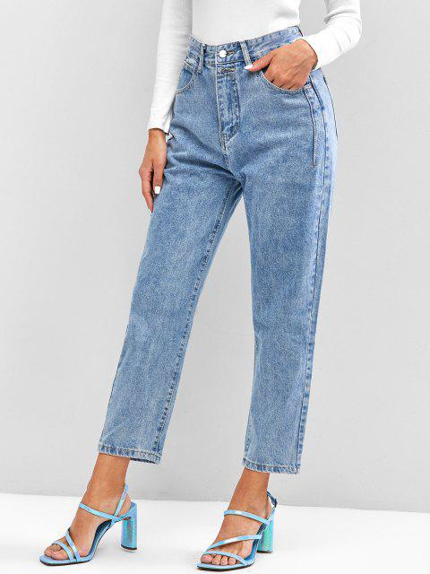 Mittlere Tapere Jeans mit Hoher Taille - Hellblau XL  Mobile