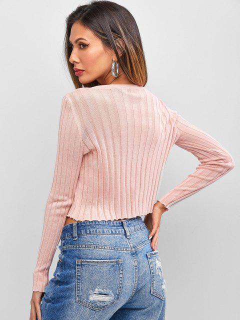 new Thin Button Up Underboob Knitwear - LIGHT PINK ONE SIZE Mobile