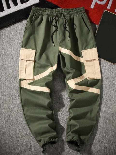 Pantalones de Carga de Cremallera de Bloqueo de Color de Bolsillo de Solapa - Ejercito Verde XS Mobile