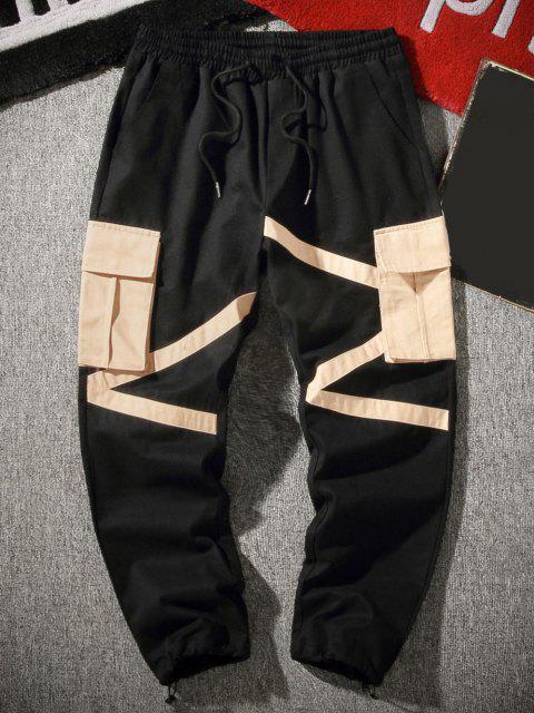 Pantalones de Carga de Cremallera de Bloqueo de Color de Bolsillo de Solapa - Negro XS Mobile