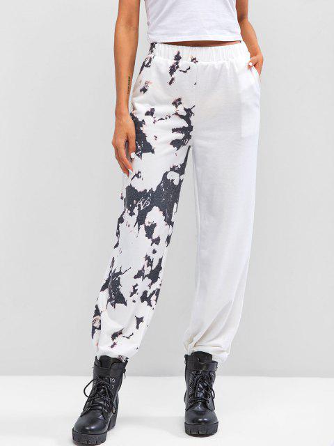shop Tie Dye High Waisted Pocket Jogger Pants - WHITE L Mobile