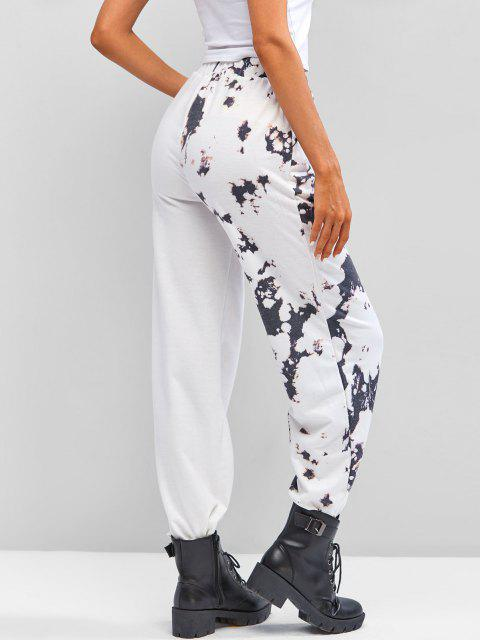 best Tie Dye High Waisted Pocket Jogger Pants - WHITE M Mobile