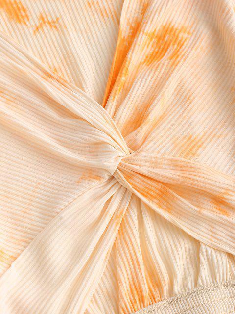 new Twist Ribbed Tie Dye Crop Top - ORANGE XL Mobile
