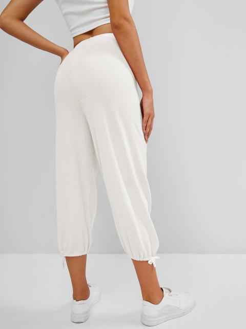 shop Knitted Drawstring Hem Tie High Rise Pants - WHITE ONE SIZE Mobile