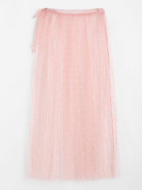 outfit ZAFUL Embroidered Lace Midi Wrap Beach Skirt - LIGHT PINK S Mobile