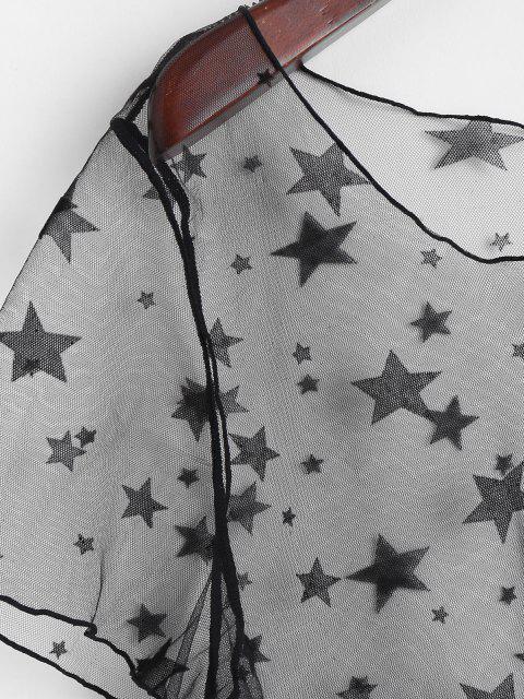 ZAFUL Vestido de Estilo Túnica com Transparência e Laço - Preto S Mobile