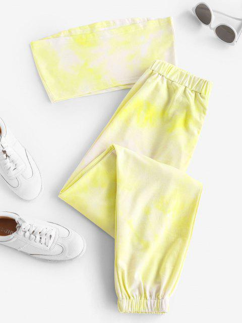 ladies Butterfly Bandeau Top And Jogger Pants Set - YELLOW XL Mobile