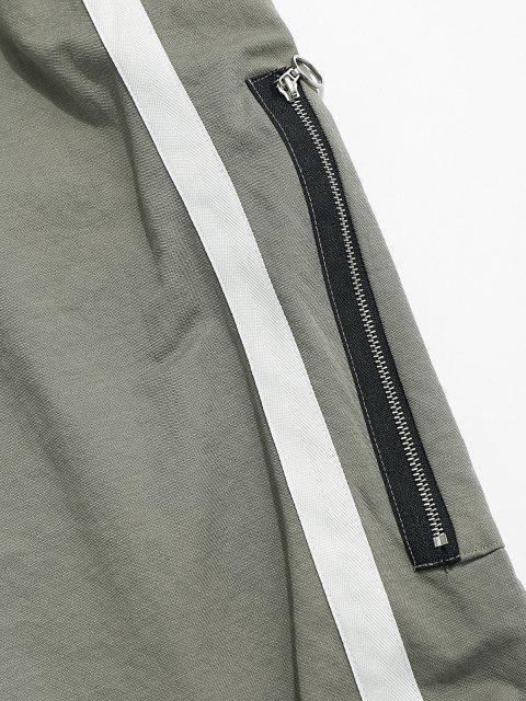 Kontraststreifen Reißverschluss Tasche Jogger Hose - Hellgrün XS Mobile