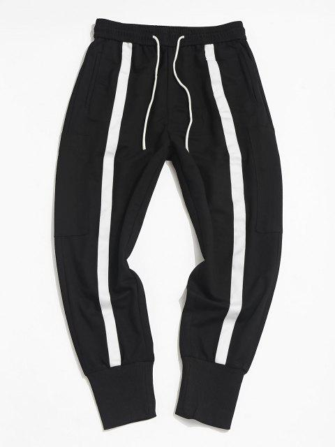 affordable Contrast Stripe Zipper Pocket Jogger Pants - BLACK XS Mobile