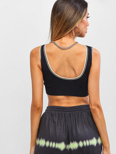 women's Ribbed Contrast Piping Padded Sports Crop Top - BLACK ONE SIZE Mobile