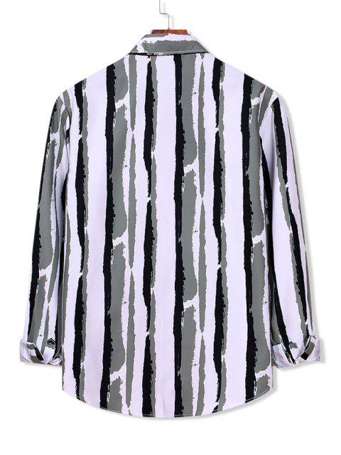 fancy Striped Paint Print Long Sleeve Shirt - WHITE L Mobile