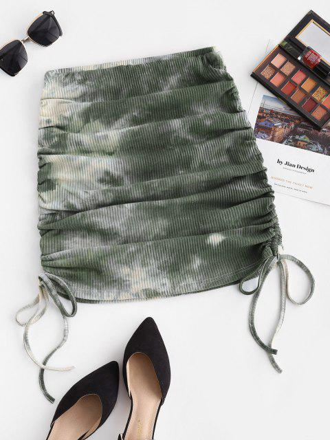 hot ZAFUL Cinched Side Ribbed Tie Dye Skirt - LIGHT GREEN S Mobile
