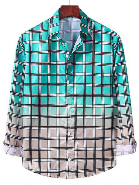 affordable Ombre Plaid Pattern Long Sleeve Shirt - MACAW BLUE GREEN S Mobile