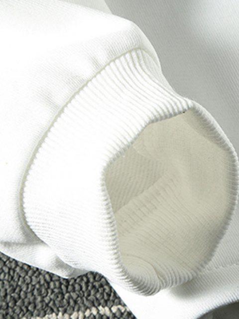 chic Solid Stitching Mock Neck Sweatshirt - WHITE XL Mobile