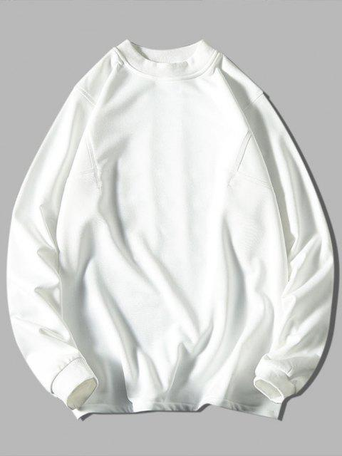sale Solid Stitching Mock Neck Sweatshirt - WHITE 3XL Mobile
