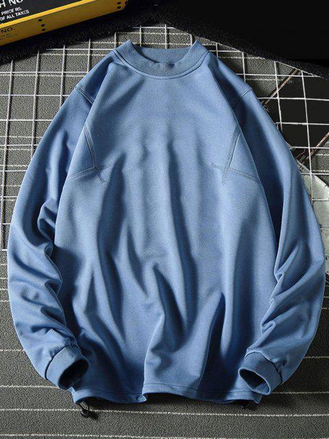 women's Solid Stitching Mock Neck Sweatshirt - BLUE XL Mobile