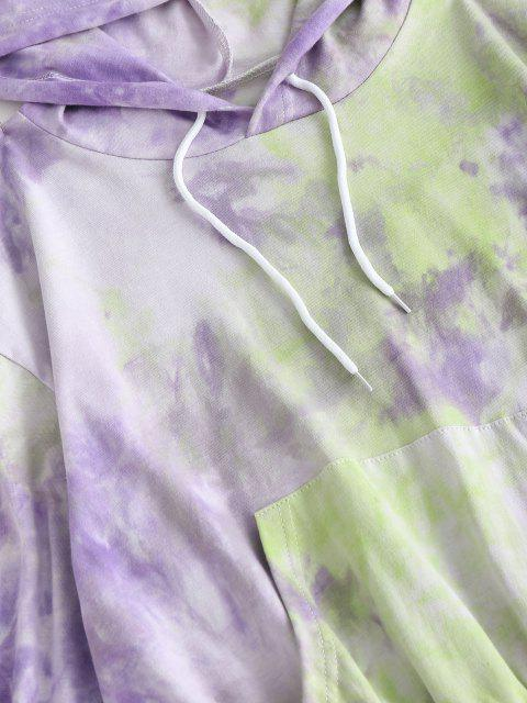 women Tie Dye Hoodie and Sweat Shorts Set - PURPLE M Mobile