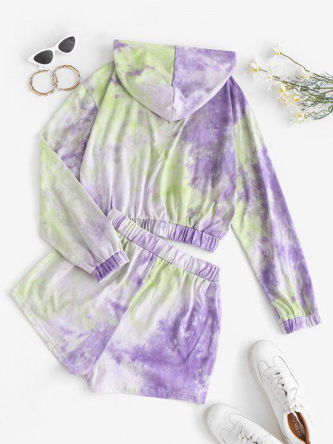 fancy Tie Dye Hoodie and Sweat Shorts Set - PURPLE S Mobile