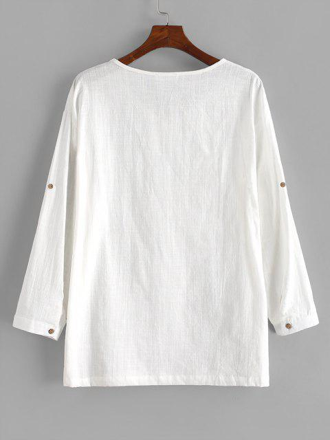 new Pure Color V Neck Roll Tab Sleeve Linen Shirt - WHITE 3XL Mobile
