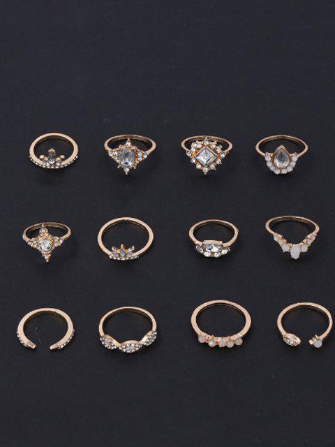 new 12 Pcs Geometric Rhinestone Ring Set - GOLDEN  Mobile